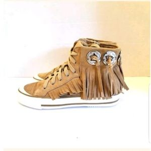 ASH kids high top fringe sneakers